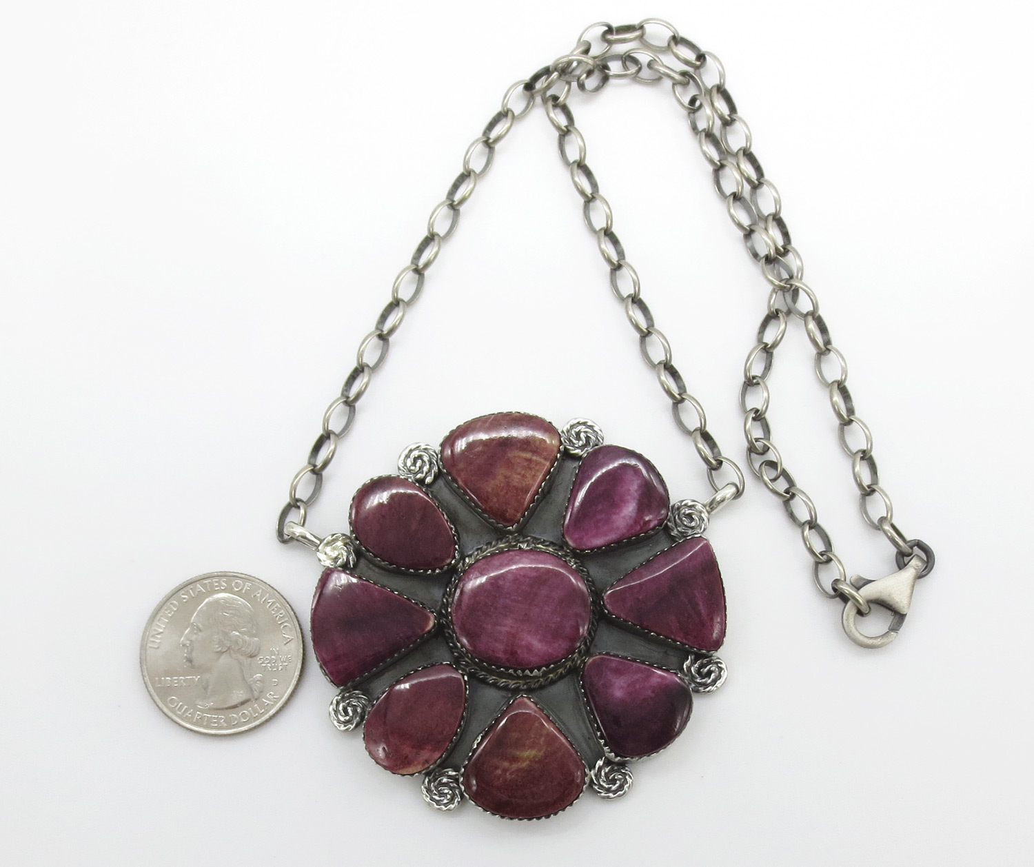 Image 1 of Big Purple Spiny Oyster & Sterling Silver Pendant Necklace - 3861dt