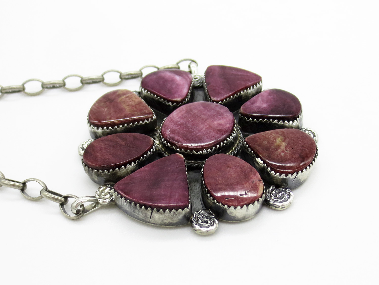Image 2 of Big Purple Spiny Oyster & Sterling Silver Pendant Necklace - 3861dt