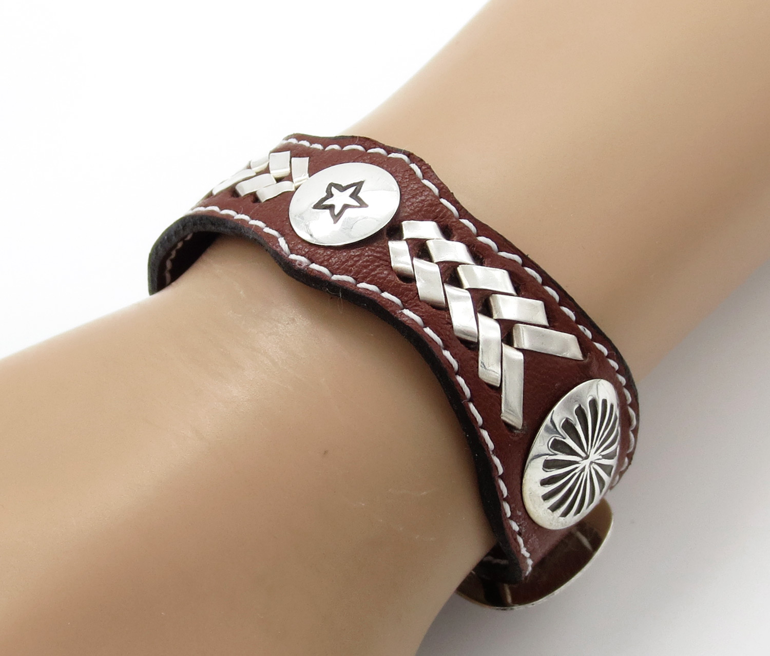 Image 0 of    Brown Leather & Sterling Silver Bracelet Native American Jewelry - 3864rb