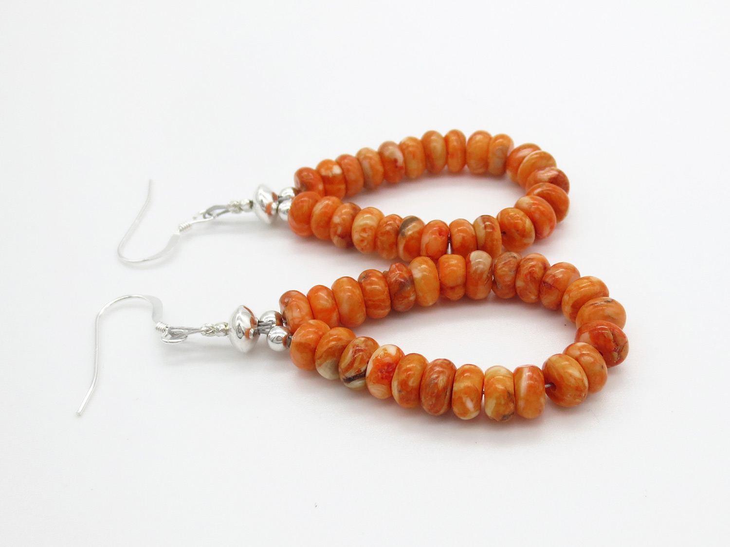 Image 1 of   Orange Spiny Oyster Rondelle Bead Earrings Native American Jewelry - 3867rb
