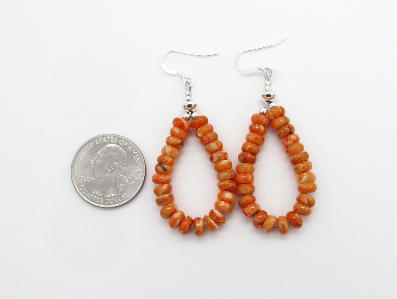 Image 2 of   Orange Spiny Oyster Rondelle Bead Earrings Native American Jewelry - 3867rb
