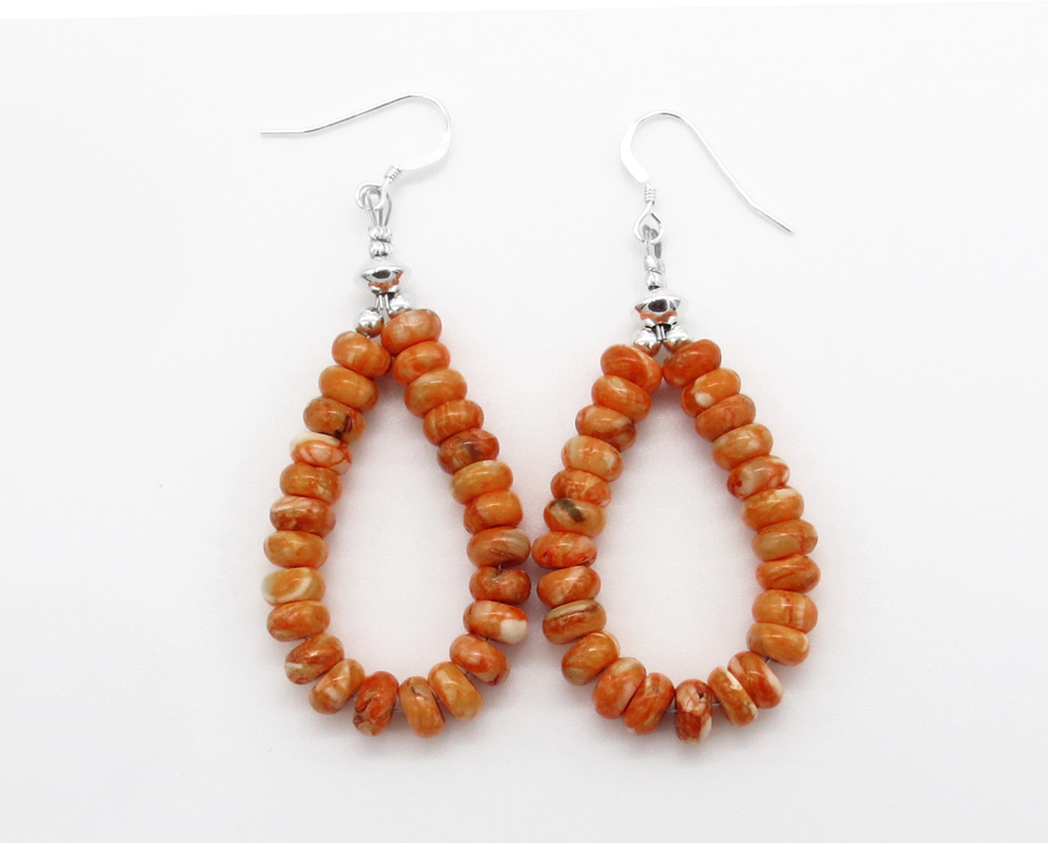 Image 0 of   Orange Spiny Oyster Rondelle Bead Earrings Native American Jewelry - 3867rb