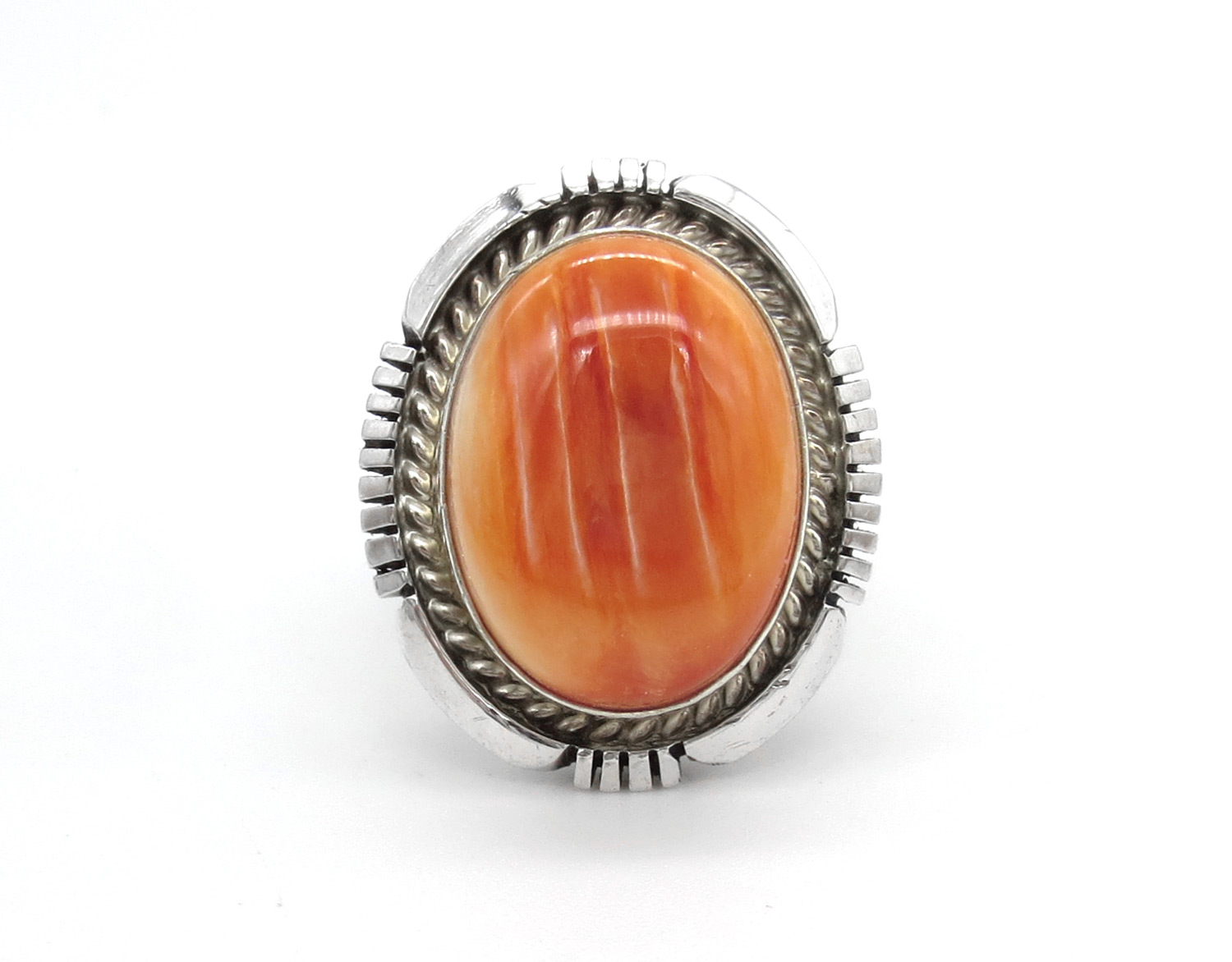 Orange Spiny Oyster & Sterling Silver Ring Sz 7.5 Navajo Jewelry - 3869dt