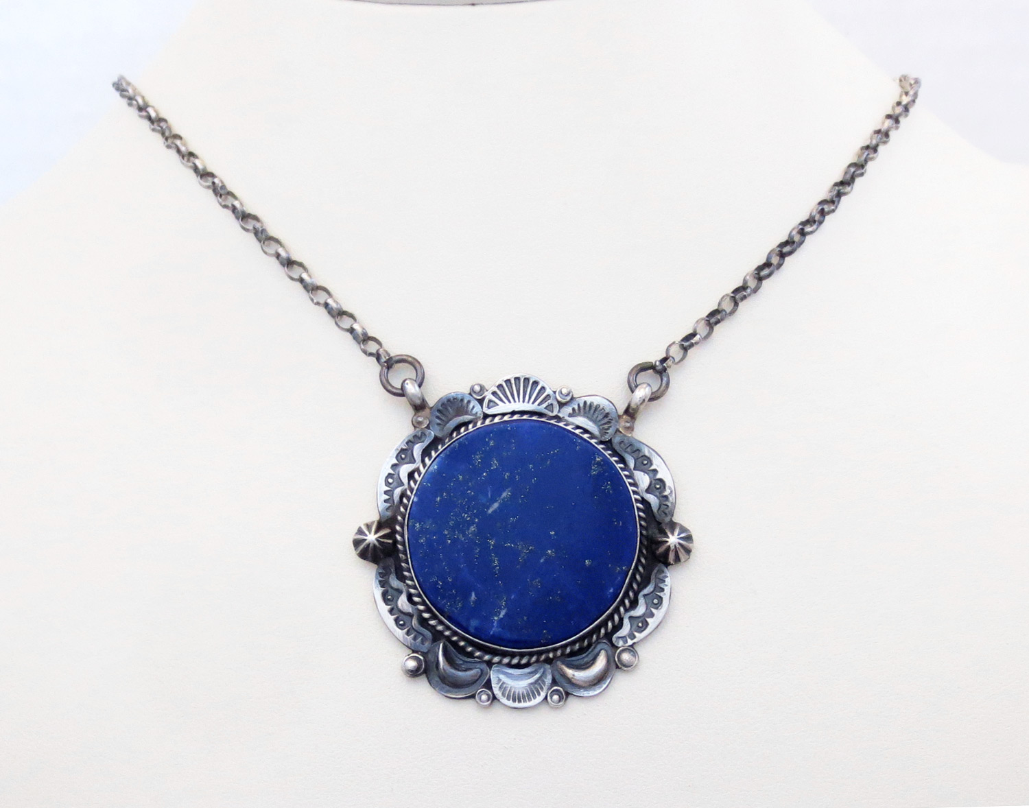 Lapis & Sterling Silver Pendant Necklace Native American Jewelry - 3870dt