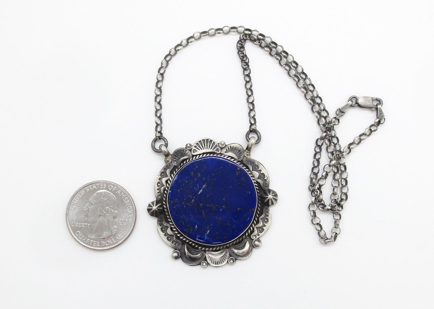 Image 1 of   Lapis & Sterling Silver Pendant Necklace Native American Jewelry - 3870dt