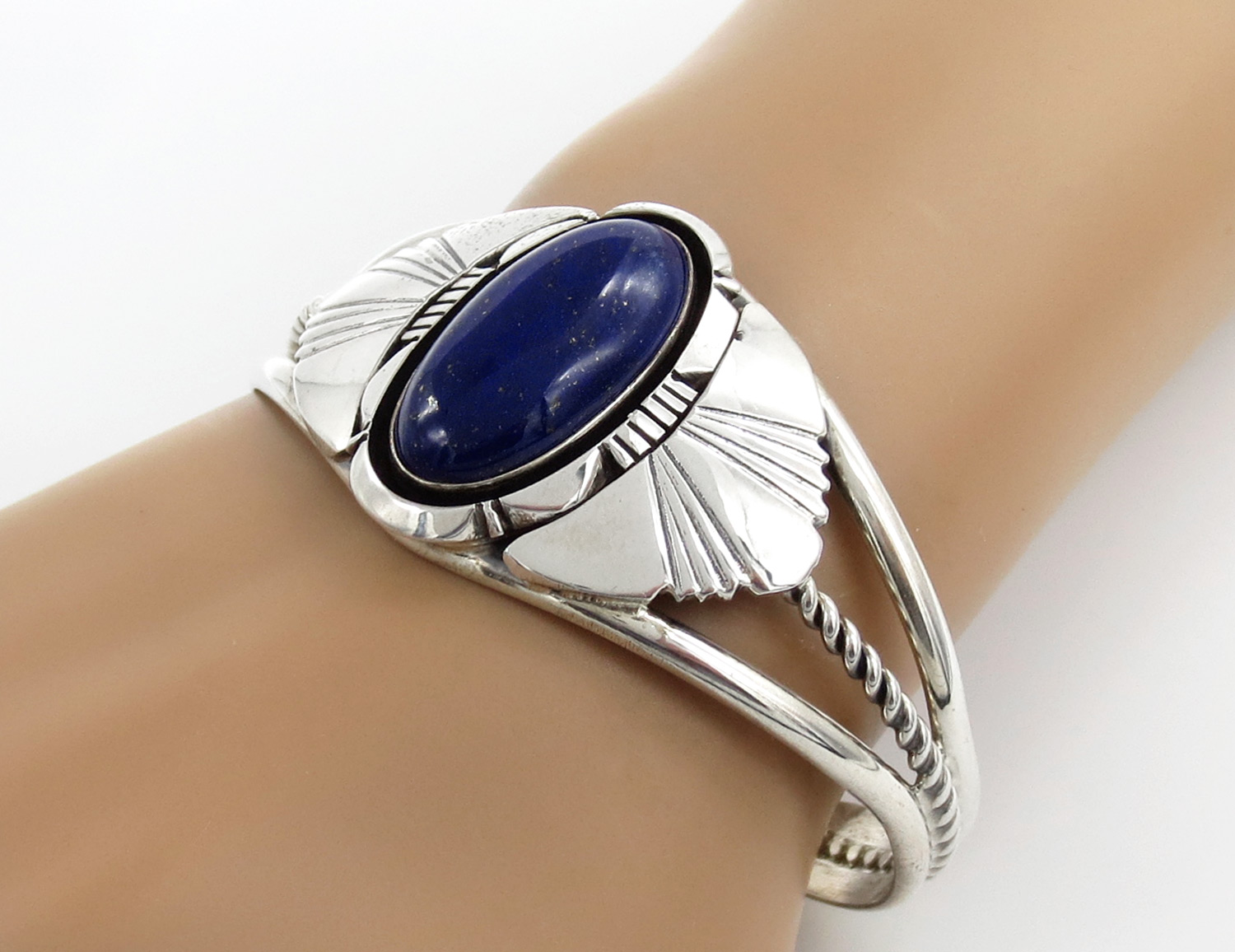 Lapis & Sterling Silver Bracelet Native American Jewelry - 2124dt