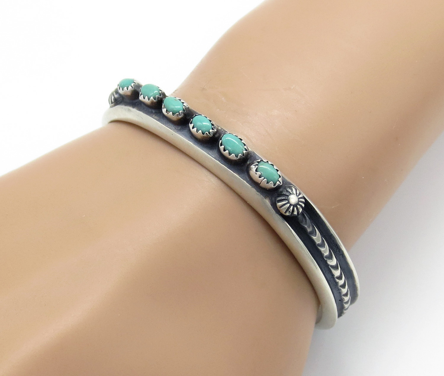 Sterling Silver & Turquoise Bracelet Native American Jewelry - 2125dt