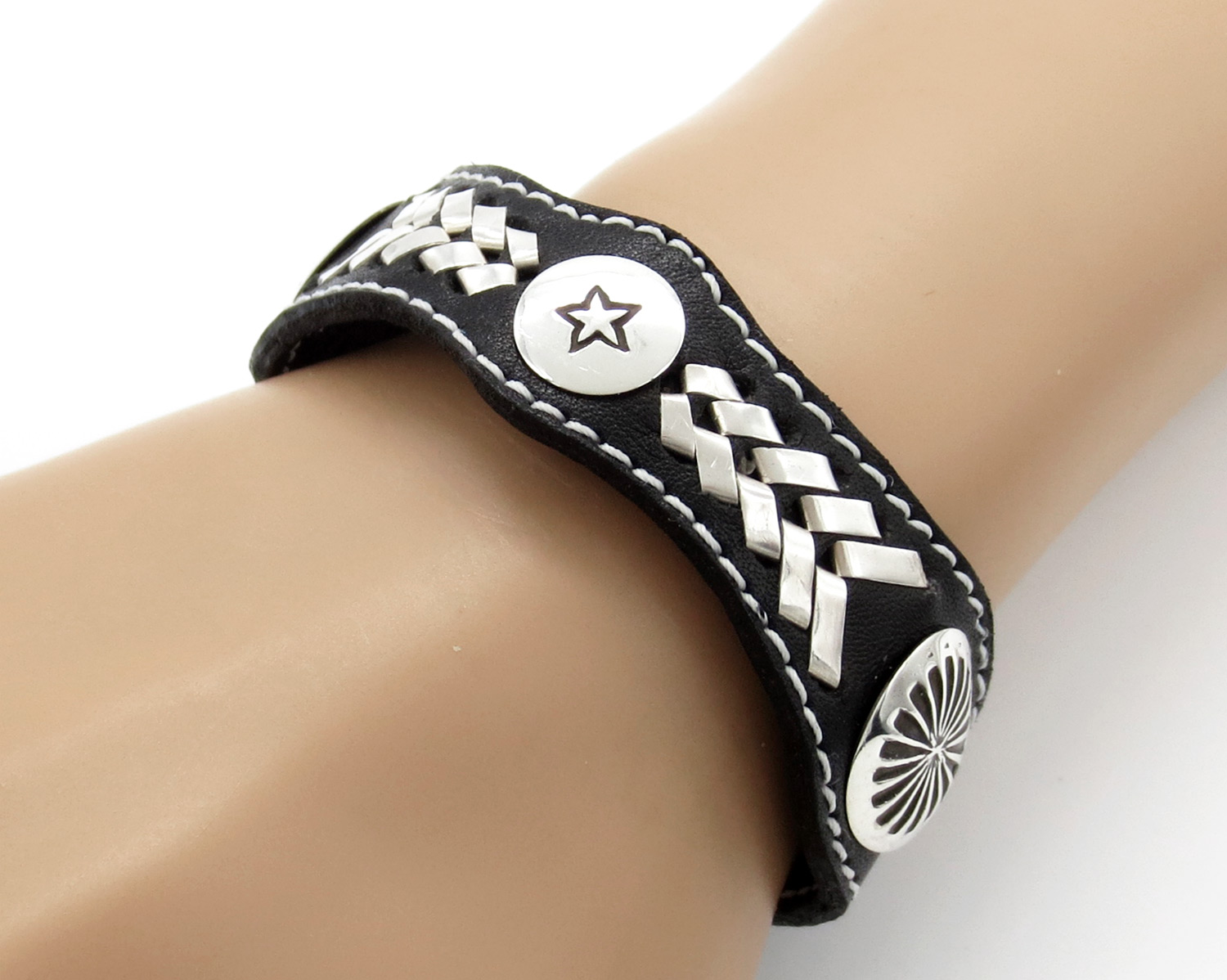 Black Leather & Sterling Silver Bracelet Native American Jewelry - 2105rb