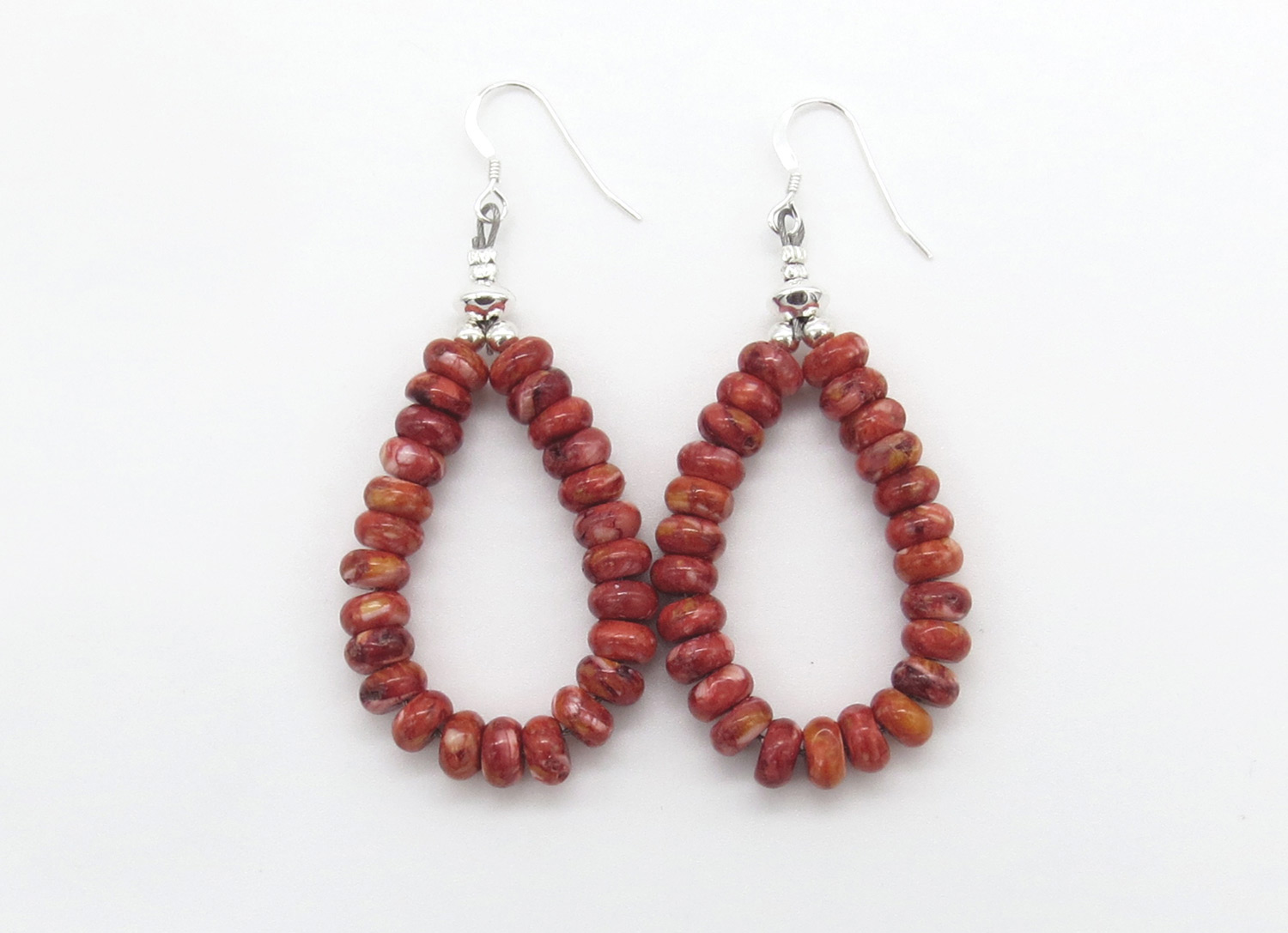 Red Spiny Oyster Bead Earrings Native American Jewelry - 2106rb