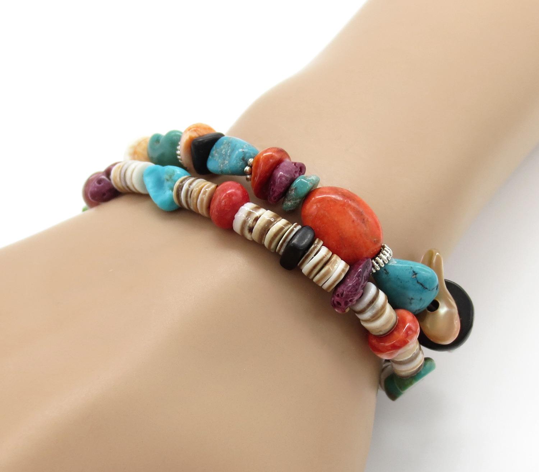 Chunky Turquoise Spiny Oyster Bracelet 2 Strand Santo Domingo - 2108rio