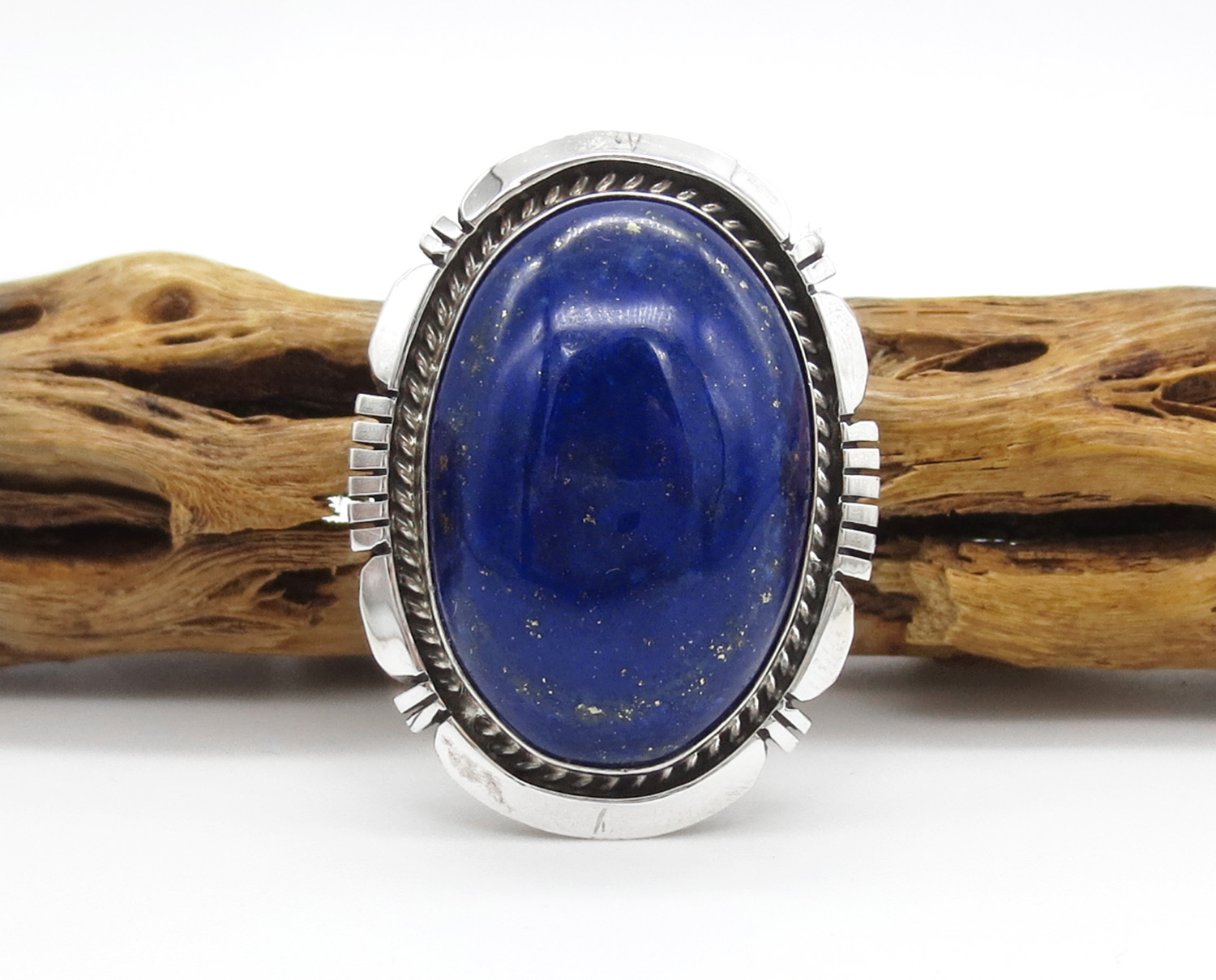 Big Lapis & Sterling Silver Ring Sz 8 Native American Jewelry - 3871dt