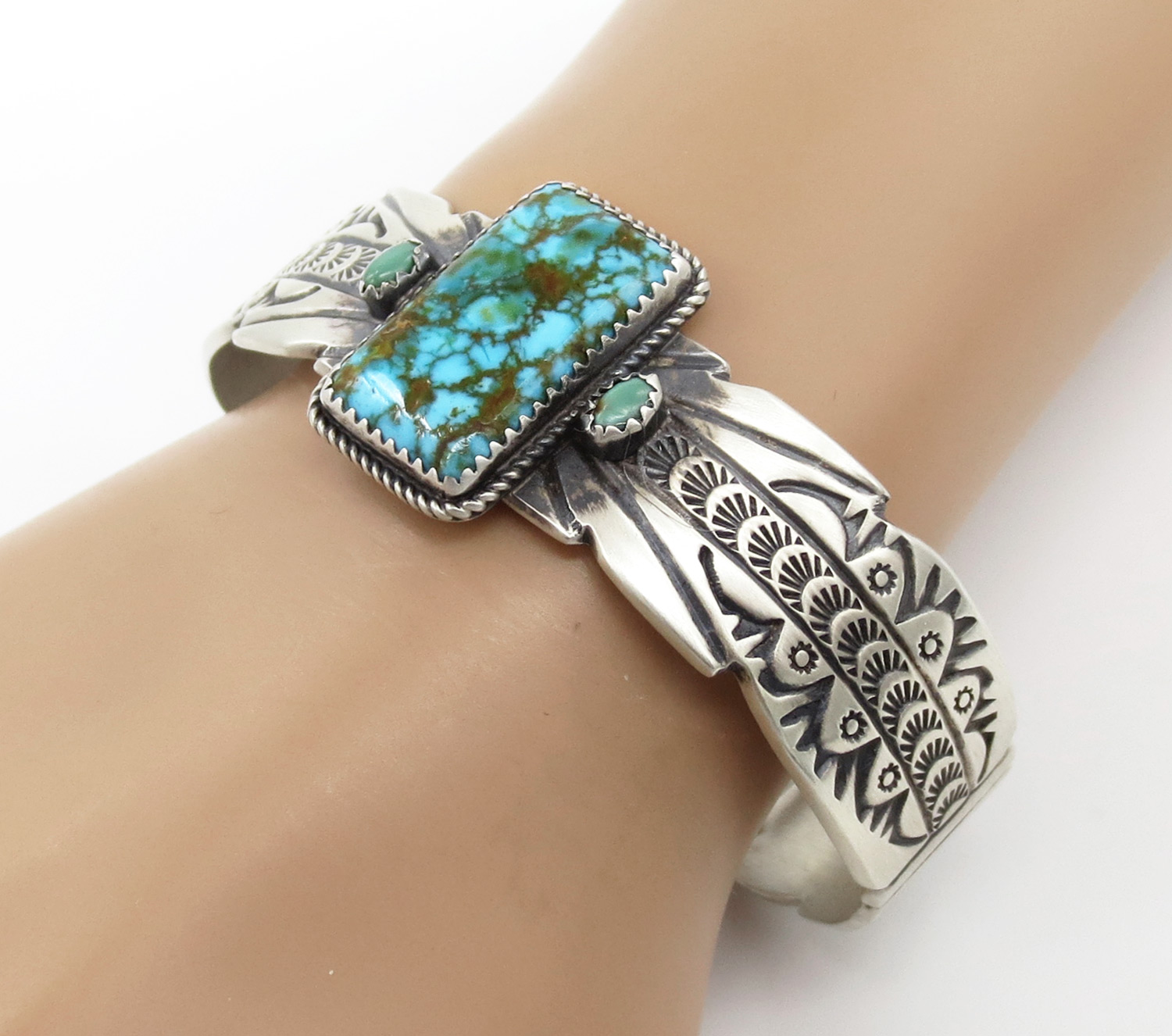 Image 0 of   Large Turquoise & Sterling Silver Bracelet Native American Jewelry - 2130dt