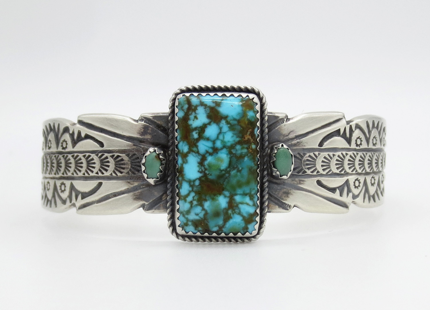 Image 1 of   Large Turquoise & Sterling Silver Bracelet Native American Jewelry - 2130dt