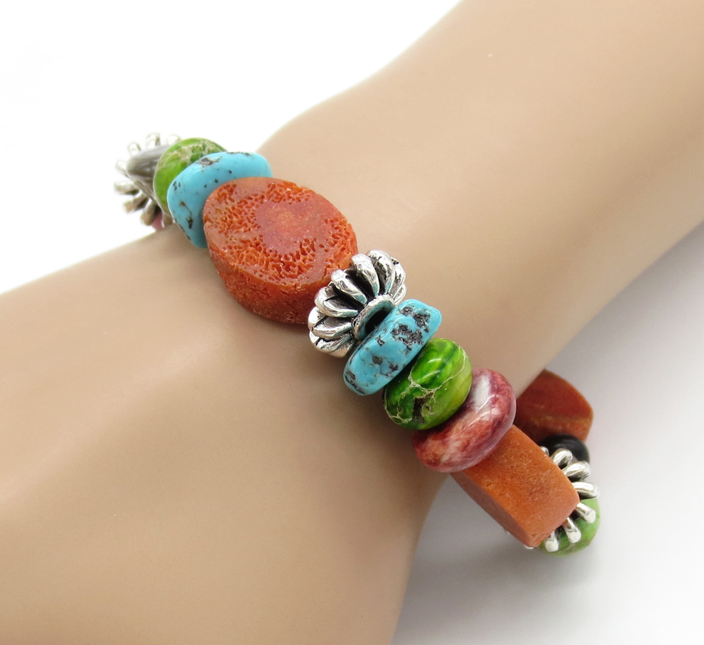 Chunky Stretchy Coral Treasure Bracelet Daniel Coriz - 2129rio