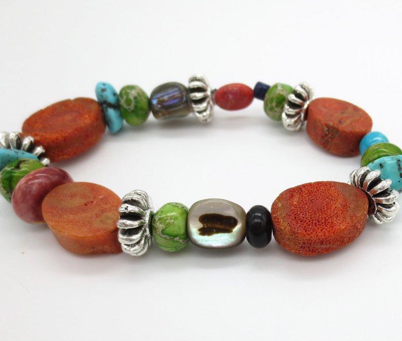 Image 2 of         Chunky Stretchy Coral Treasure Bracelet Daniel Coriz - 2129rio