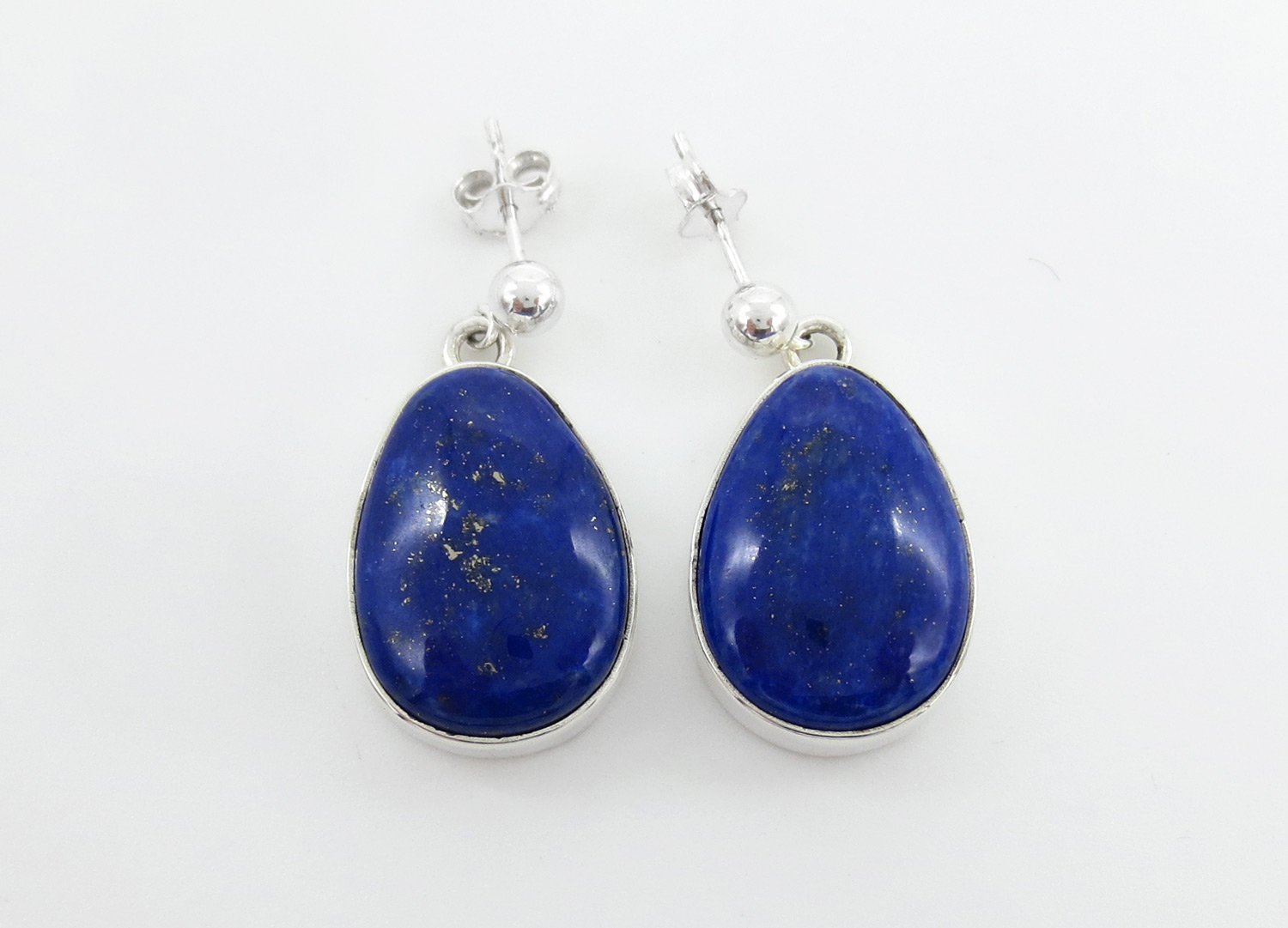 Lapis & Sterling Silver Earrings Native American Jewelry - 2134rio