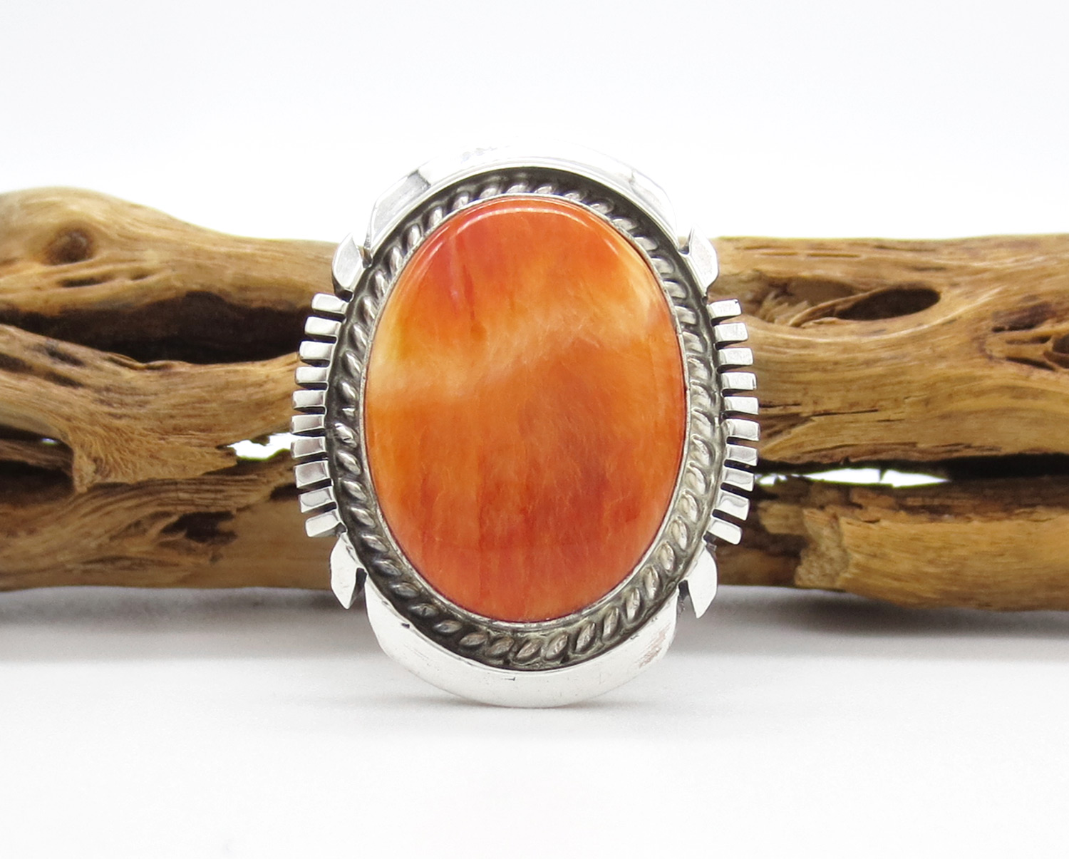 Orange Spiny Oyster & Sterling Silver Ring Sz 9 Navajo Jewelry - 2107dt