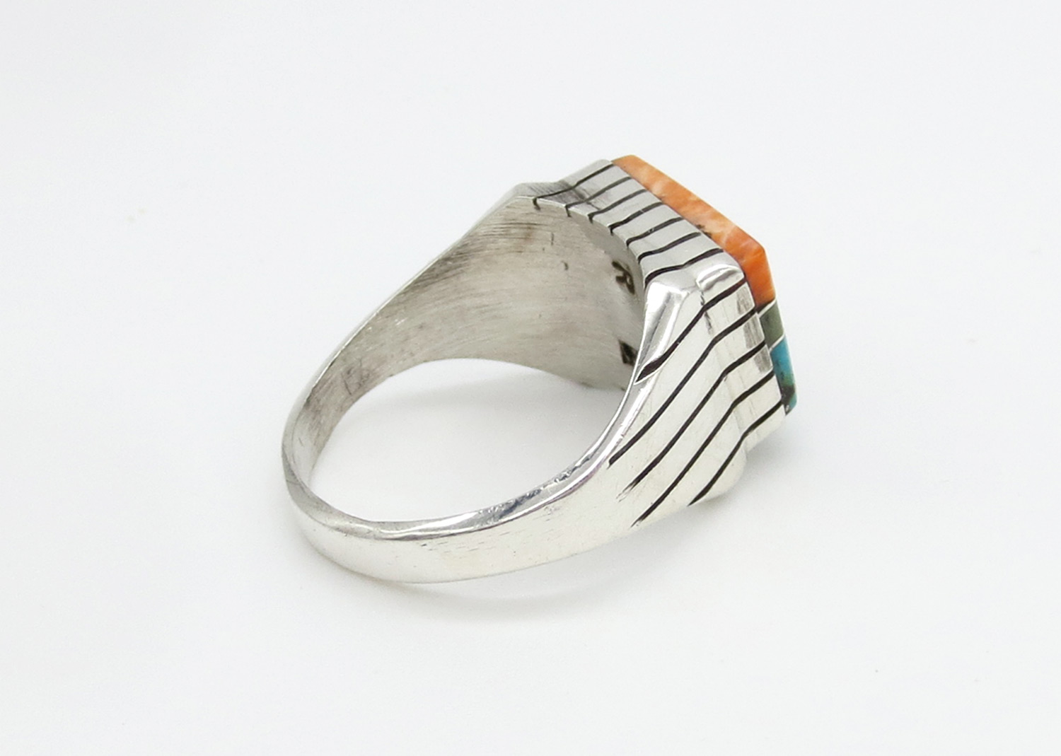 Image 1 of   Multi Stone Inlay & Sterling Silver Unisex Ring Sz 12 - Trevor Jack - 2143rb