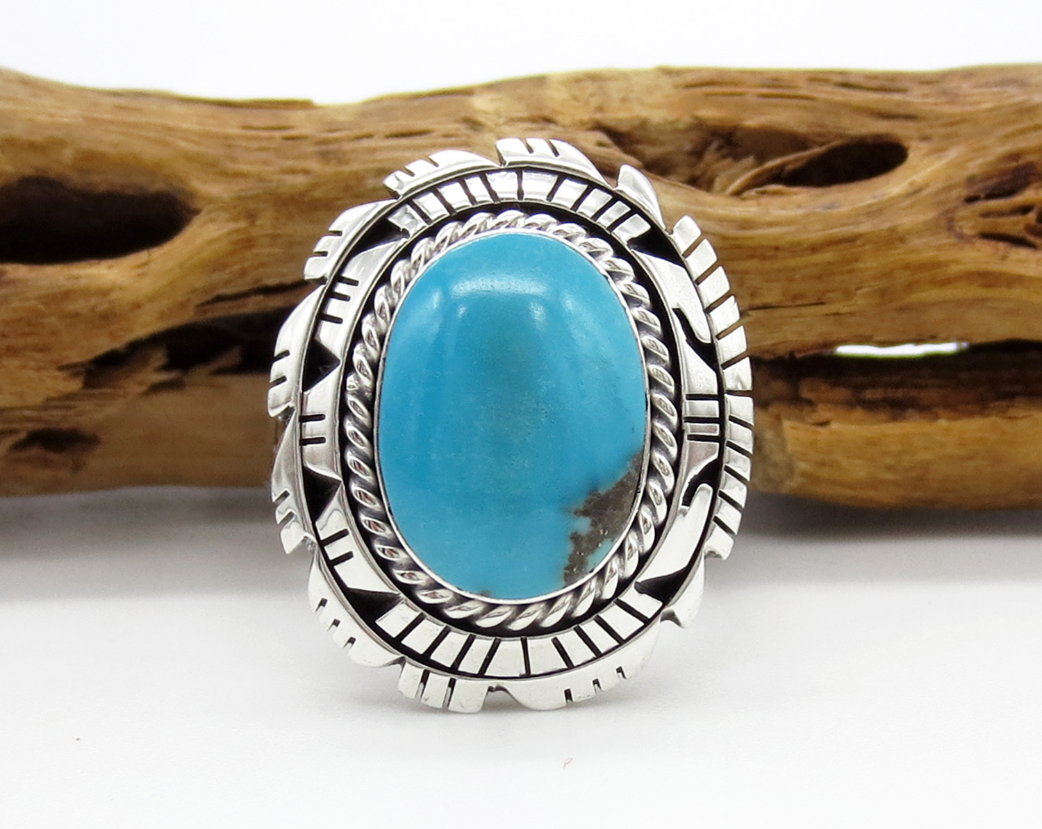 Sterling Silver & Turquoise Ring Sz 9 Native American Jewelry - 2145rb