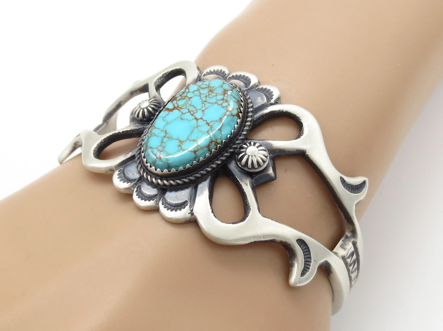 Turquoise & Sterling Silver Bracelet Native American Jewelry - 2149dt
