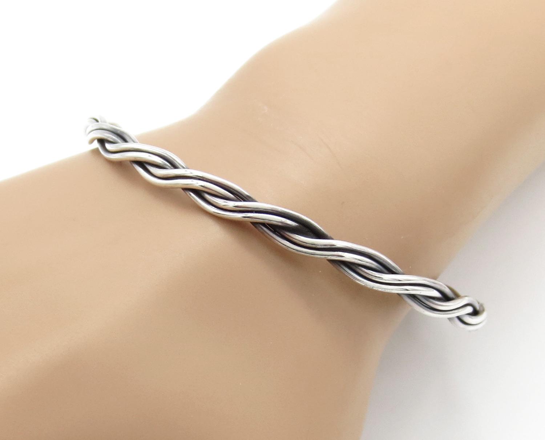 Sterling Silver Bangle Bracelet - Laine Tahe Navajo - 2150rb