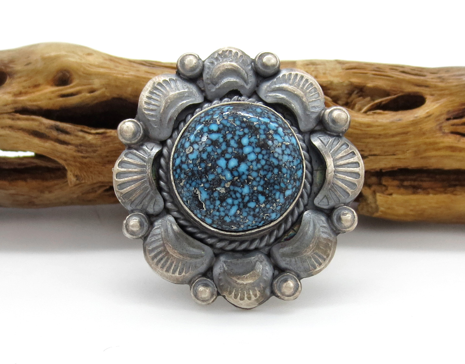 Old Style Kingman Web Turquoise & Sterling Silver Ring Sz 8.5 - 2126dt