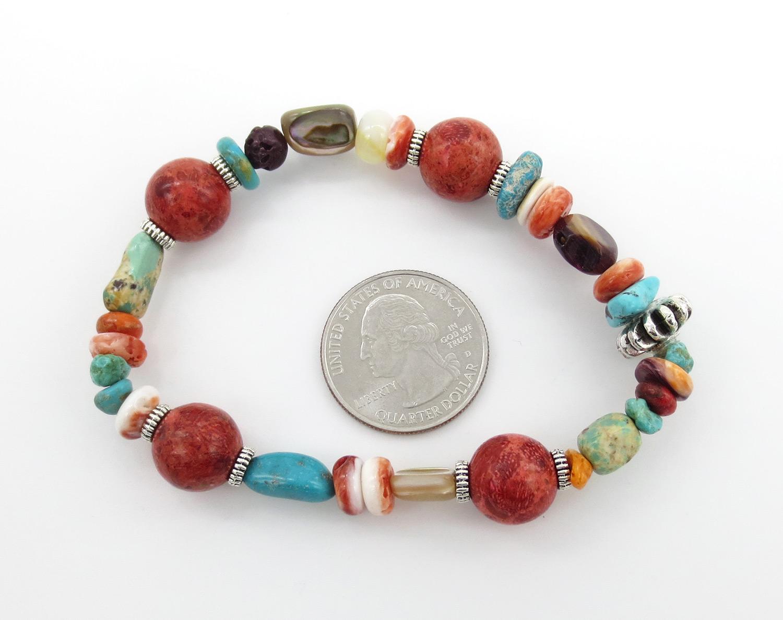 Image 1 of     Chunky Stretchy Coral Treasure Bracelet Kewa Daniel Coriz - 2146rio