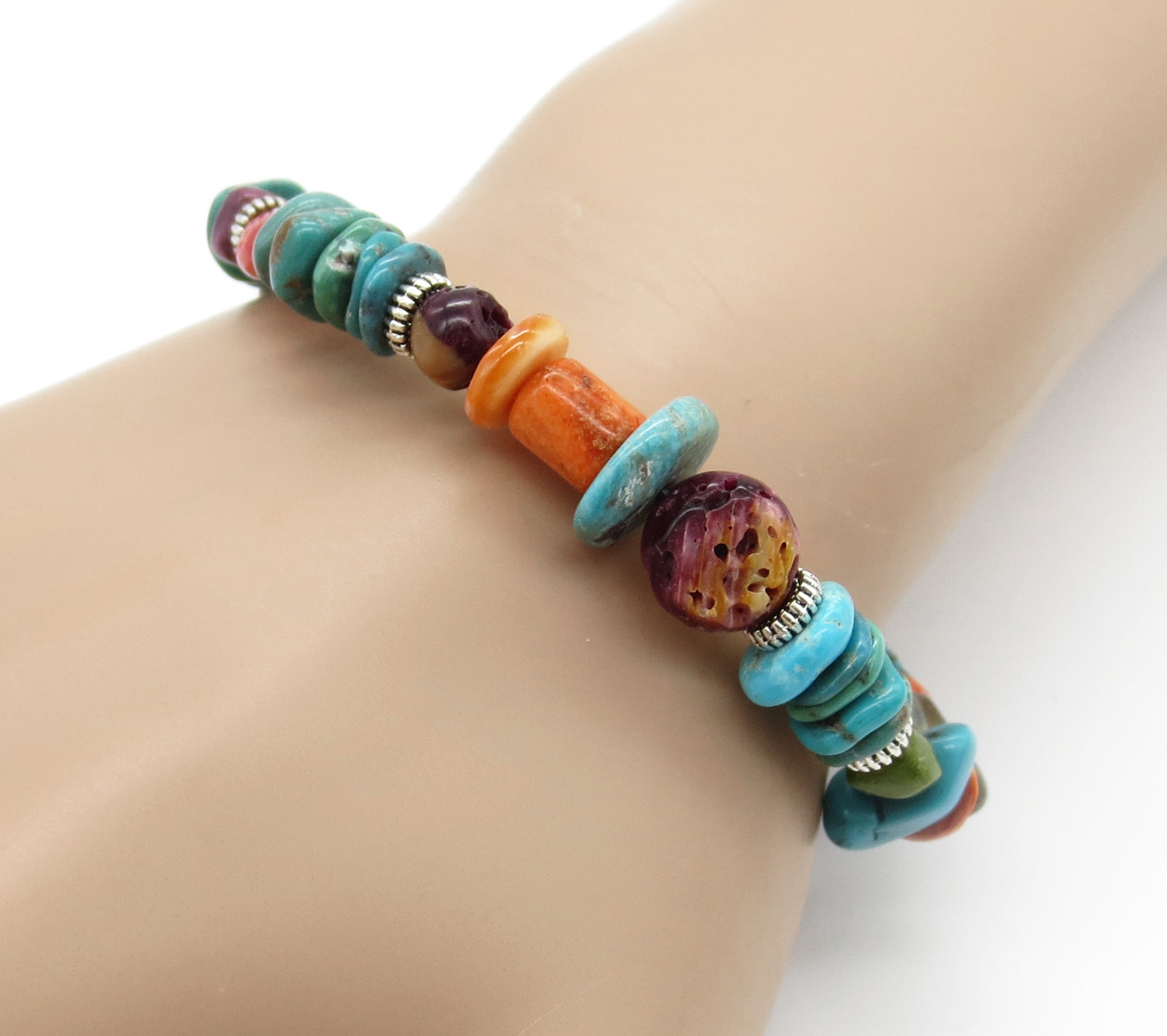Chunky Stretchy Turquoise Spiny Oyster Treasure Bracelet - 2154rio