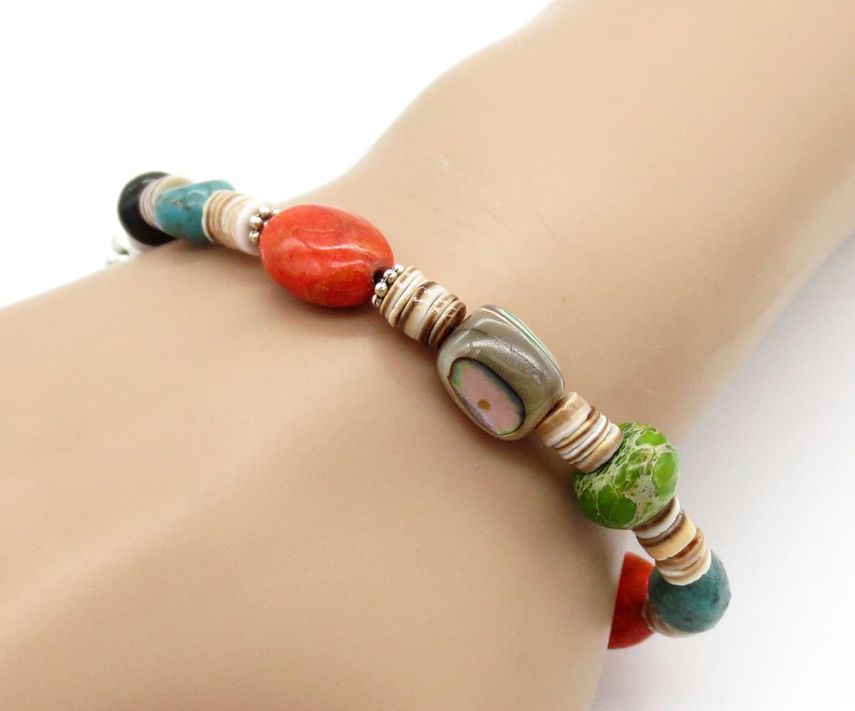 Chunky Stretchy Turquoise Heishi Treasure Bracelet  Kewa - 2157rio