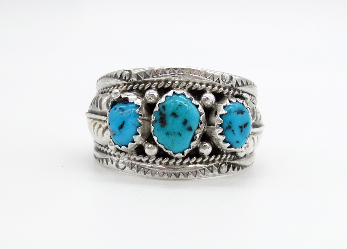 Classic Turquoise & Sterling Silver Ring Sz 10.5 Navajo Jewelry - 2156rb