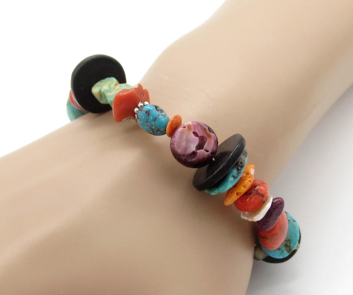 Chunky Turquoise Jet Treasure Bracelet Daniel Coriz Kewa - 6374rio
