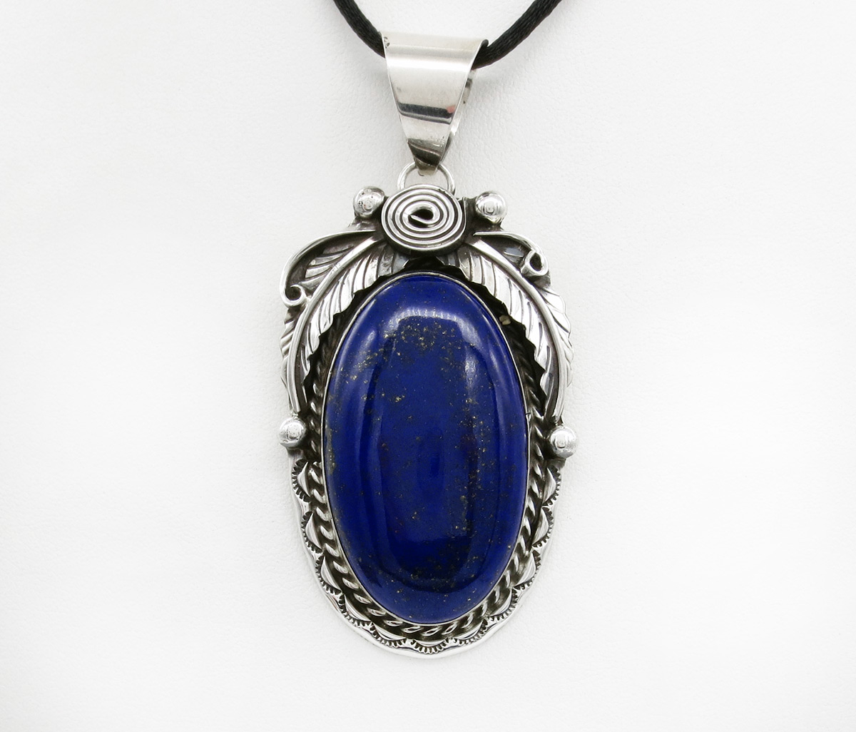 Large Lapis Lazuli & Sterling Silver Pendant Navajo Jewelry - 2157dt
