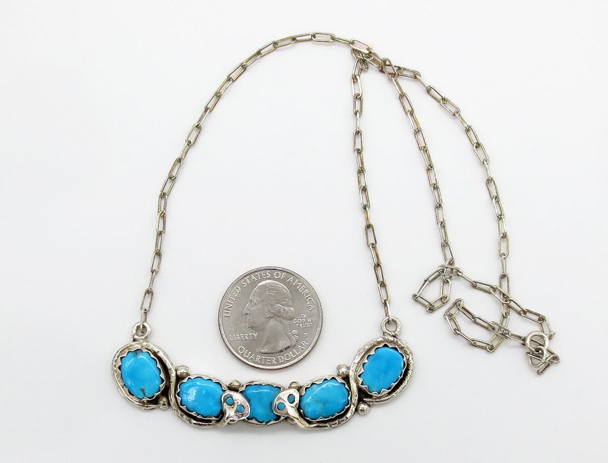 Image 1 of    Classic Effie C Turquoise Snake Pendant Necklace Zuni - 2159dt