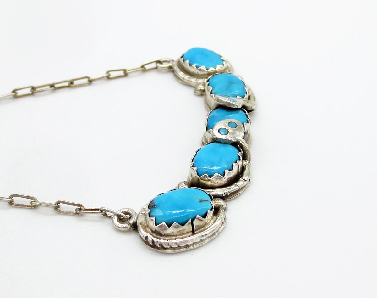 Image 2 of    Classic Effie C Turquoise Snake Pendant Necklace Zuni - 2159dt