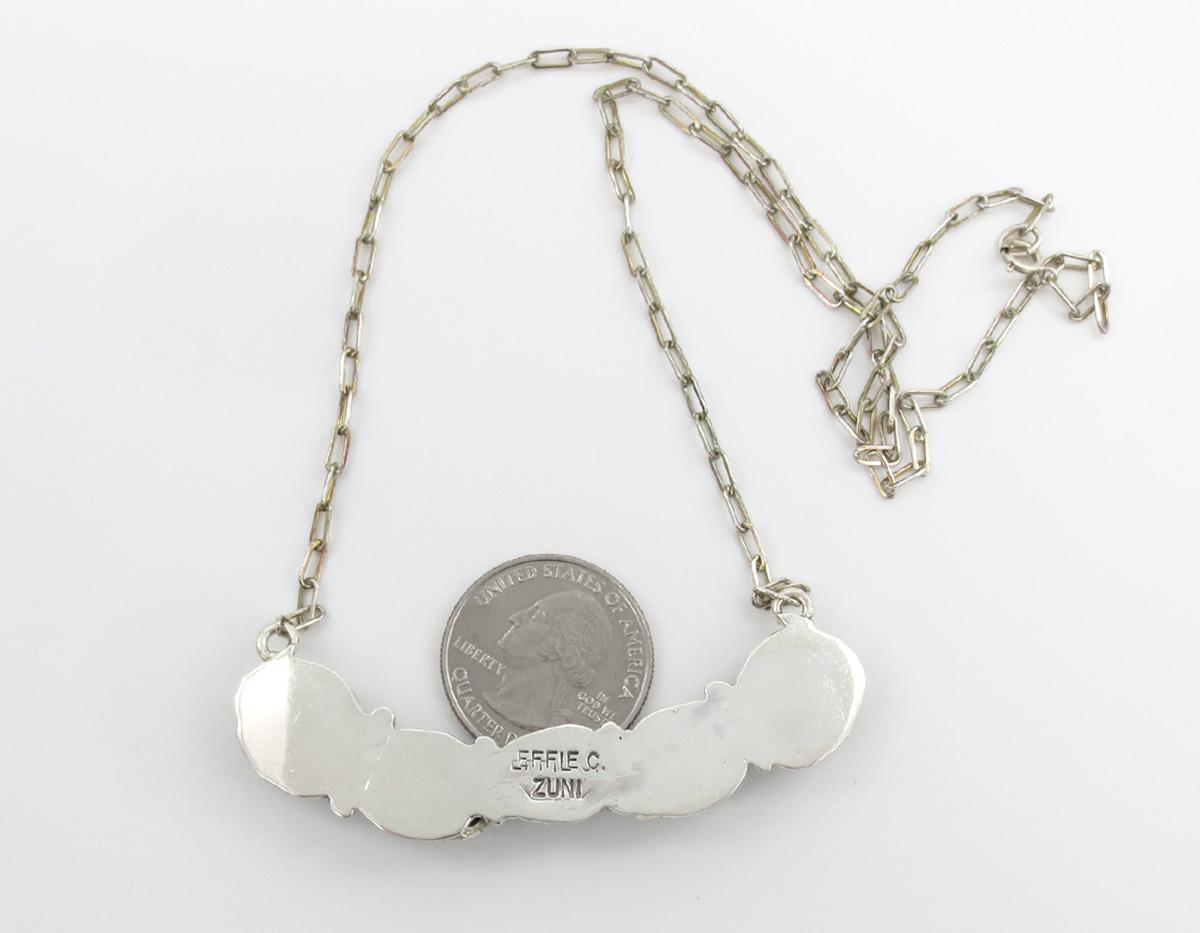 Image 3 of    Classic Effie C Turquoise Snake Pendant Necklace Zuni - 2159dt