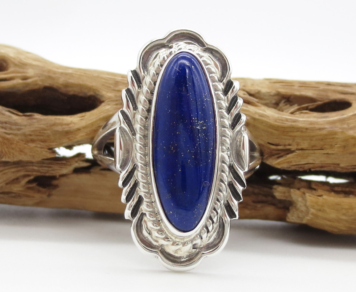 Lapis & Sterling Silver Ring Sz 9 Native American Jewelry - 6380rio