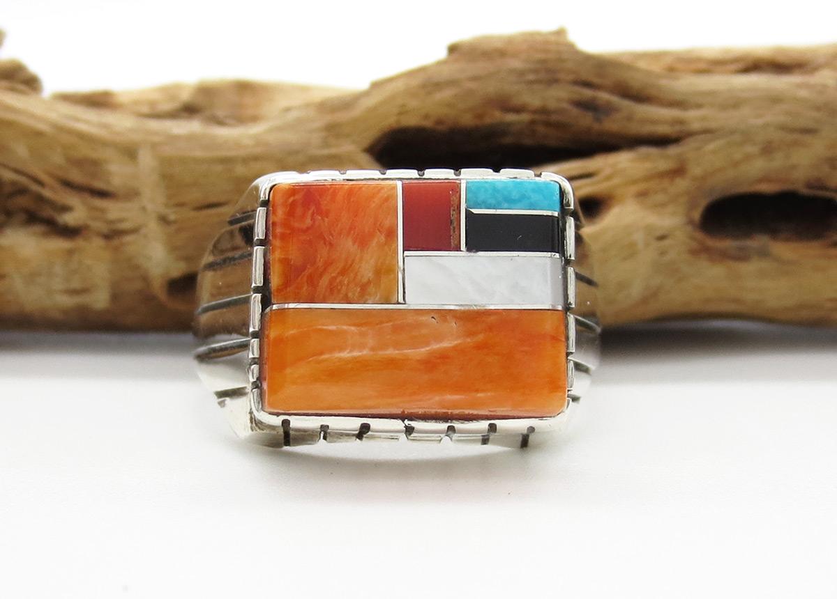 Multi Stone Inlay & Sterling Silver Unisex Ring Sz 12 - Trevor Jack - 6385rb