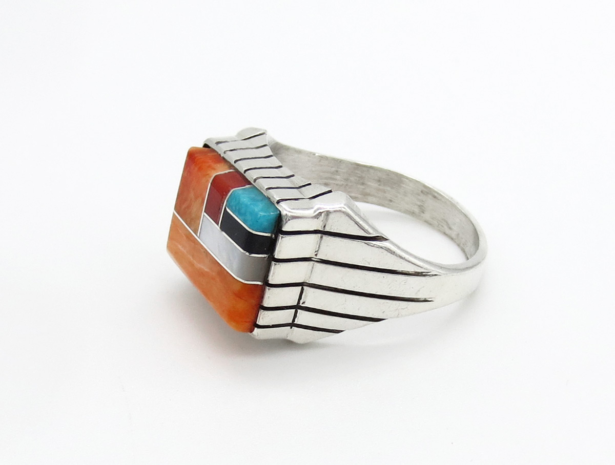 Image 1 of    Multi Stone Inlay & Sterling Silver Unisex Ring Sz 12 - Trevor Jack - 6385rb