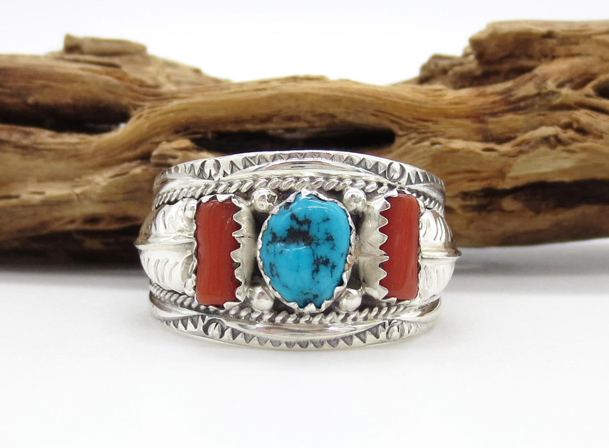 Classic Turquoise Coral & Sterling Silver Ring Sz 11.5 Navajo Jewelry - 6384rb