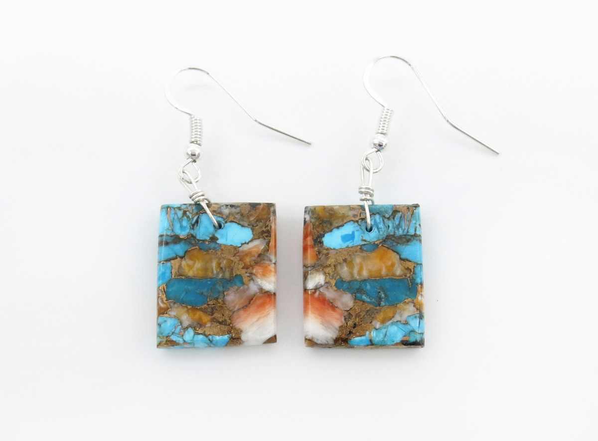 Turquoise & Spiny Oyster Slab Earrings Native American Jewelry - 6379rio