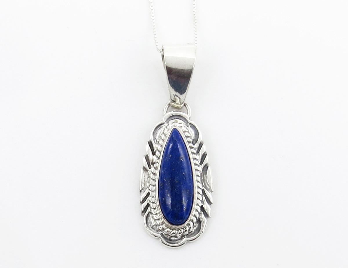 Lapis & Sterling Silver Pendant w/Chain Native American Jewelry - 6387rio