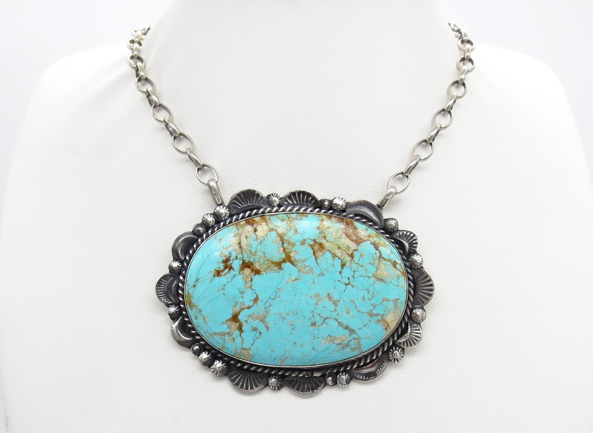 Big #8 Turquoise & Sterling Silver Pendant Necklace  Navajo Jewelry- 6149dt