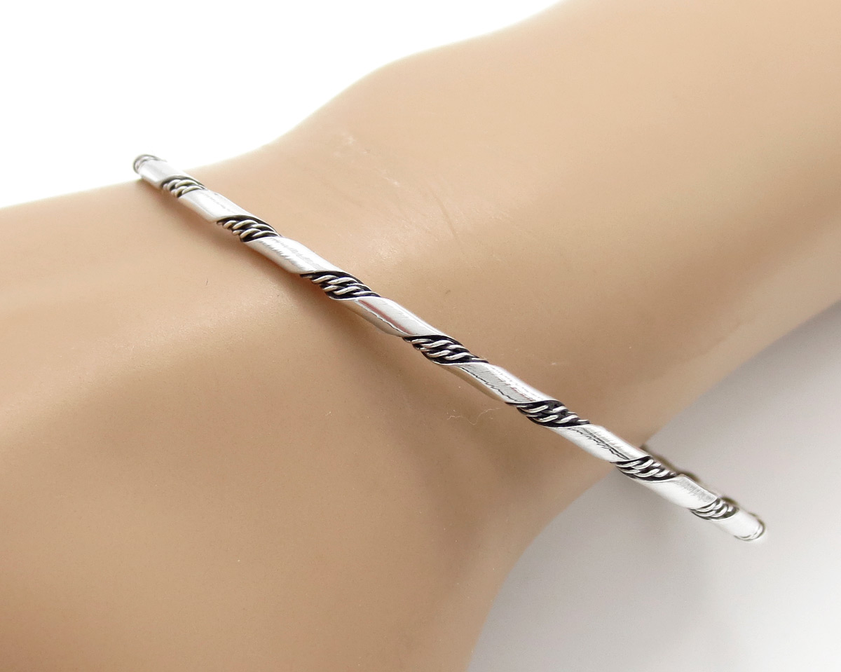 Image 0 of   Sterling Silver Bangle Bracelet Native American Jewelry - 6147rb