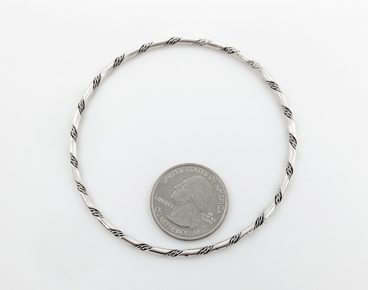 Image 1 of   Sterling Silver Bangle Bracelet Native American Jewelry - 6147rb