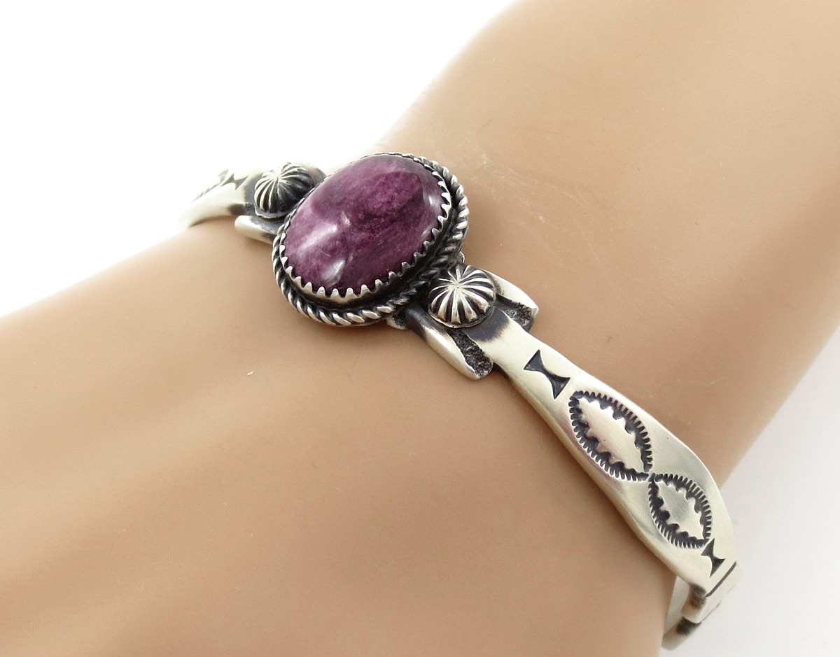 Purple Spiny & Sterling Silver Bracelet Native American Jewelry - 6154dt