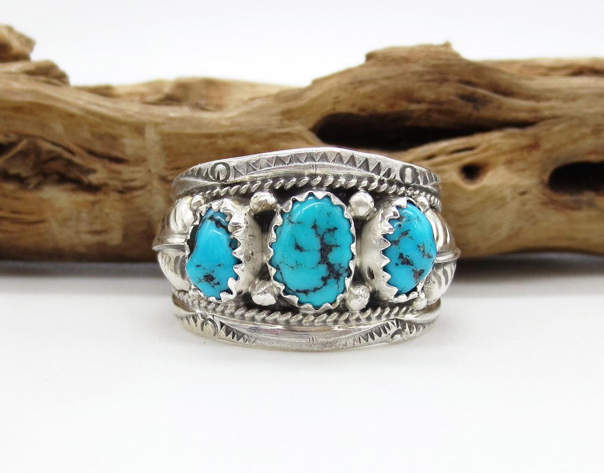 Classic Turquoise & Sterling Silver Ring Sz 9 Navajo Jewelry - 6162rb