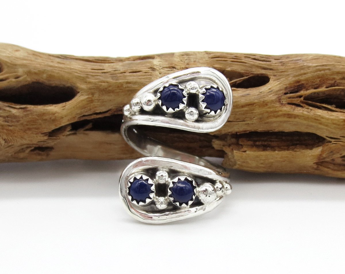 Lapis & Sterling Silver Adjustable Ring Native American Jewelry - 6164rb
