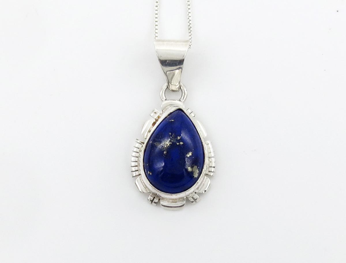 Lapis & Sterling Silver Pendant w/Chain Native American Jewelry - 6163rio