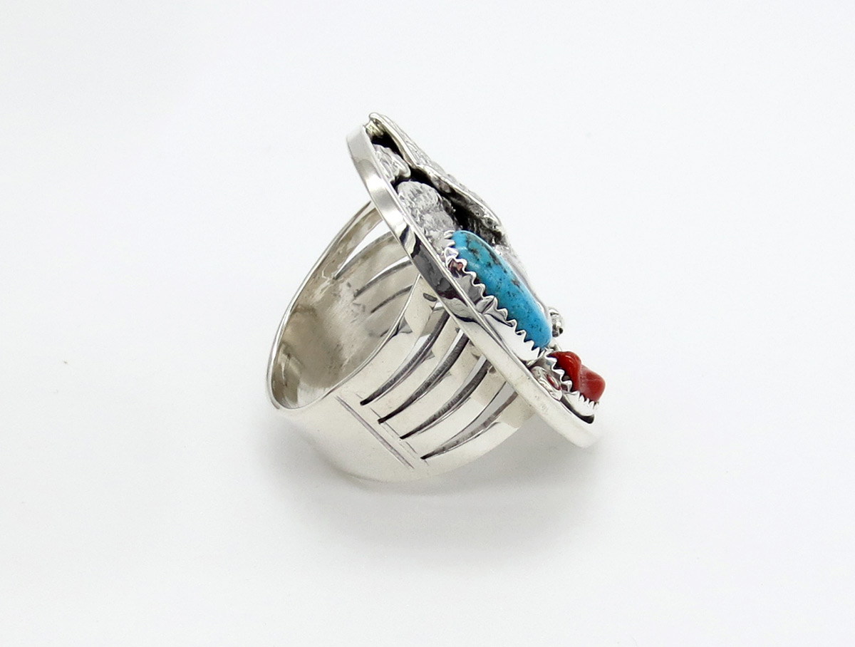 Image 1 of   Turquoise Coral & Sterling Silver Eagle Ring Size 9 Navajo Jewelry - 6169rb