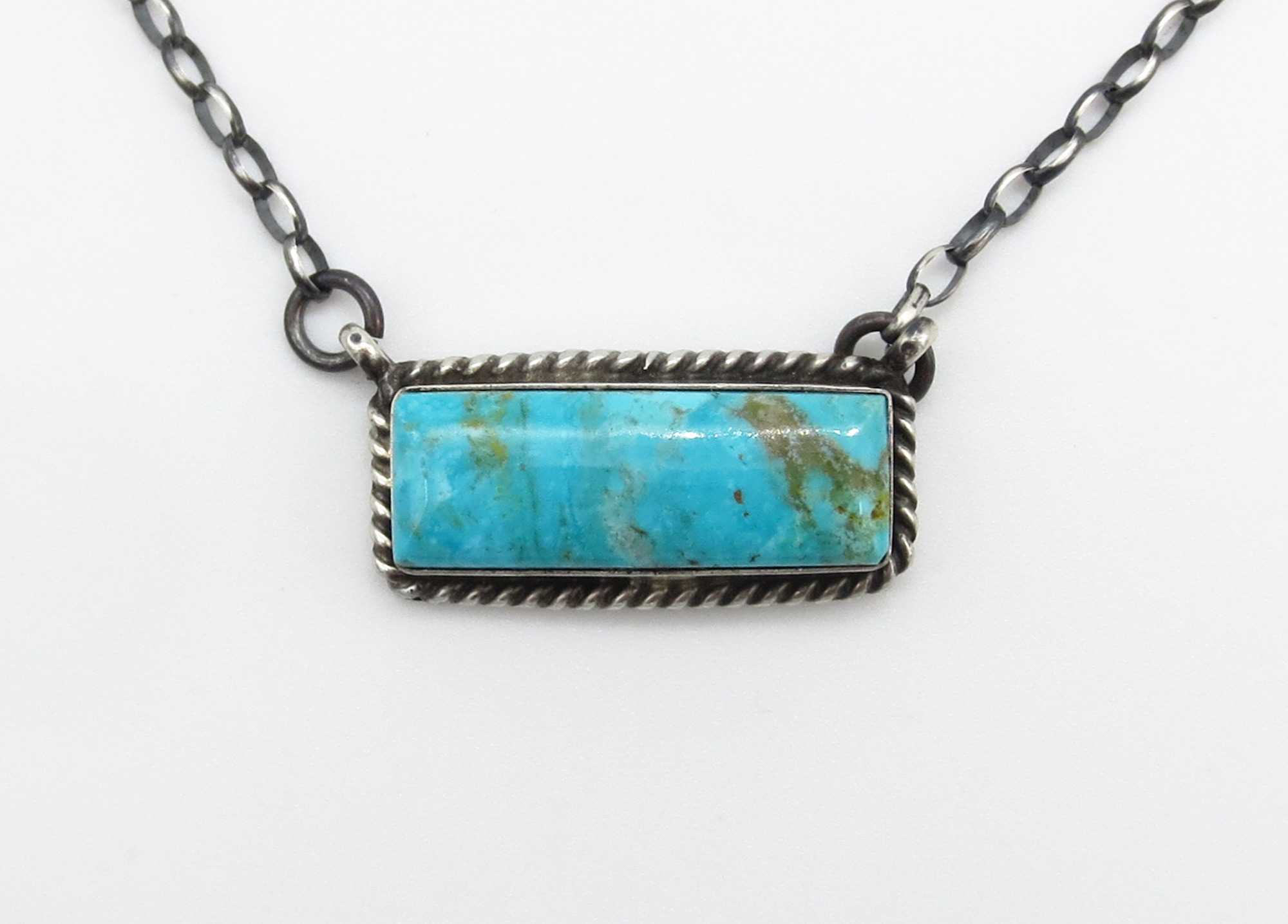 Turquoise & Sterling Silver Pendant Necklace Navajo Jewelry - 3942dt